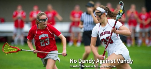 """No. 13 Stanford was unable to protect a five-goal lead and suffered its first loss of the women's lacrosse season, losing to Vanderbilt in overtime, 16-15, in nonconference play Sunday at Laird Q. Cagan Stadium. Stanford (2-1) got three goals apiece from Lucy Dikeou and freshman Kelsey Murray, and Hannah Farr extended her goal-scoring streak to 13 as the Cardinal built a 14-9 lead with 15:07 to go in the second half. However, Vanderbilt (3-2) scored five answered goals to close out regulation.  Stanford opened the six-minute mandatory first overtime period by scoring a free-position goal by Rachel Ozer with 25 seconds left in the first three-minute overtime half. After Alexandra Crerend won the draw to begin the final three minutes, Stanford seemed in position to win and worked a stall to run out the clock. However, a turnover on a misconnected pass with 1:01 left proved costly. The turnover led to Abby Wheeler's tying goal with 34 seconds left. Stanford fouled on the play, allowing Vanderbilt to keep possession on the restart. Only 19 seconds later, the Commodores took the lead on another Mallory Schonk to Wheeler combination – the two combined for both final-minute goals – this time for the winner with 15 seconds left. Wheeler scored seven goals and Schonk had five assists for Vanderbilt. To illustrate how important possession is, Stanford did not have the ball after the turnover, except as the final seconds ticked away. """"We need to show better control and confidence,"""" Stanford coach Amy Bokker said. """"We need to have a killer instinct. It's all in our charge. We need to finish it."""""""