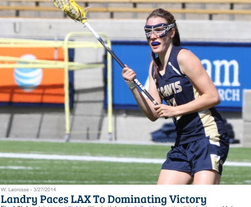 Junior midfielder Elizabeth Landry tallied five goals while freshman Melissa Kellan and Carly Voris each added hat tricks, helping UC Davis forge a 13-2 win over Detroit in non-conference women's lacrosse action at Titan Field Thursday afternoon.  The Aggies snap a three-game losing skid in improving to 6-3. The Titans slip to 1-8 overall.  Landry, who also had an assist and a game-high six draw controls, led her team's overall 13-for-23 shooting. Kellan shot a perfect 3-for-3 for the day while Voris added three caused turnovers to her three-goal output. Sophomore Ellie Delich accounted for the remaining two UC Davis scores. Junior Meghan Jordan and sophomore Courtney Neff each tallied two assists. Defensively, Voris' three steals matched that of senior Rachael Mack and junior Allie Lehner for the team lead.  Detroit suffered offensively with just 2-for-14 on shots. Sophomore Kylie Birney and senior Erin Campbell netted one apiece.  UC Davis never trailed in the contest, scoring five unanswered during the first 21:35 to seize control of the game. Landry assisted Kellan in the fourth minute for the game's first goal, Voris added a second just two minutes later, then Landry hit the first of her five scores in the seventh for the initial burst.   Annie Mendoza assisted Campbell to put the Titans on the board with 5:22 remaining in the first half, then her ensuing draw control set up Birney's eight-meter goal to cut the Aggie lead to 5-2 just 29 seconds later. However, that froze the Detroit side of the scoreboard for the remainder of the game, as the hosts shot 0-for-10 the rest of the way.  UC Davis won seven of the eight draws in the second half, pulling away from a 6-2 halftime lead en route to the victory. Neff assisted Voris and Kellan on goals within the first two minutes after the break. Landry had four of her goals in the second frame.  The two goals allowed stands as the lowest since April 23, 2010, when UC Davis took down Fresno State by a 17-1 final.