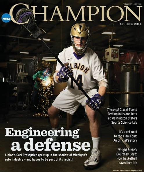 Albion Men's Lacrosse Defenseman Carl Pressprich NCAA Champion Magazine Spring 2014