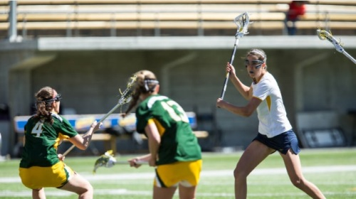 This week is primed to be a memorable week for the California women's lacrosse program. The Golden Bears welcome Oregon first to Kabam Field at Memorial Stadium for a game that will be televised live on the Pac-12 Networks. The Bears will face the Ducks on Thursday, April 3, at 7 p.m. Cal (2-6, 1-2 MPSF) will then honor its seniors for Senior Day as well as honoring former players with a 15-year anniversary halftime ceremony when the Bears host USC on Sunday, April 6, at 1 p.m.   At the halfway point of the season, the Bears have three players tied at the top of the team leaderboard with 21 points each - Paige Gasparino, Gaby Christman and Bella Huther. Huther, a true freshman, has scored all of her points with goals. Lizz Lavie leads the team in assists with 12, while Nicole Beck is right behind her with 10. Christman leads the team in draws (29), ground balls (16) and caused turnovers (17).  A Look at the 2014 Golden Bears • The Bears have struggled to pick up wins recently, entering Thursday's contest on a four-game losing streak. Cal had a three-game East Coast road trip last week and suffered a pair of tough losses to La Salle (10-6) and Lehigh (9-7) before Yale beat the Bears, 17-6.  • Through the first half of the season, Bella Huther is Cal's leader in goals with 21 (3rd in the MPSF). She scored four times in the season opener against Saint Mary's, and tallied five more goals against San Diego State Her performance against SDSU led her to be named the MPSF Rookie of the Week on March 3. It was her first weekly honor and Cal's first weekly conference honor this season. During Cal's East Coast road trip last week, Huther scored seven goals in the three games, including four against La Salle. She has scored at least two goals in four of Cal's last five games.  • In addition to the production from Huther, Gaby Christman and Paige Gasparino are tied with Huther for the team lead in points with 21. Christman has 17 goals while Gasparino has 14 with seven assists. Gasparino tallied a hat trick and an assist in Cal's most-recent victory against Siena. Christman is also the team leader in three other categories - draws (29), ground balls (16) and caused turnovers (17).  • While Huther, Gasparino and Christman have been scoring most of the goals this season, Lizz Lavie (12) and Nicole Beck (10) are the team assist leaders thus far. Beck also has five goals this season. • Head coach Ginger Miles is in her third season as head coach at Cal. She previously coached Claremont-Mudd-Scripps for two seasons, leading CMS to NCAA Tournament second-round appearances both years. The Bears have been in the MPSF Tournament in both of her previous seasons at Cal, and Miles also guided former standout Megan Takacs to become the first All-American in the history of the program. Scouting Oregon • Oregon is currently 5-4, picking up a 10-5 win at Cincinnati in its most-recent game. • The Ducks' leading scorers thus far are Shannon Propst (44 points - 20 goals, 24 assists) and Carly O'Connell (41 points - 18 goals, 23 assists). • Defensively, O'Connell has notched 48 draws, 15 ground balls and 14 caused turnovers, while Nikki Puszcz has 20 draws, 14 ground balls and 13 caused turnovers. • Keeper Caroline Federighi has a save percentage of .483 and a goals-against average of 7.67. Scouting USC • USC is currently 5-4, picking up MPSF wins over San Diego State and Fresno State in its most-recent contests. • The Trojans' leading scorers thus far are Caroline de Lyra (22 points - 12 goals, 10 assists) and Alex Moore (18 points - 16 goals, 2 assists). • Defensively, Amanda Johansen has notched 27 draws, 14 ground balls and seven caused turnovers, while Michaela Michael has 20 draws, eight ground balls and two caused turnovers. • Keeper Liz Shaeffer has a save percentage of .325 and a goals-against average of 10.00. Cal Lacrosse Set To Celebrate 15-Year Anniversary Cal fans are invited to come celebrate the 15-year anniversary of California women's lacrosse on Sunday, April 6, prior to Cal's 1 p.m. game vs. USC. The event starts at 11 a.m. at the Lisa and Douglas Goldman Plaza. Pregame festivities include food, photo sessions, raffles and much more. Also included will be a tour of the Simpson Center for Student-Athlete High Performance. Please contact Associate Director of Development Brian Raney for more information - (510) 643-0888, braney@berkeley.edu. Huther Sparks Cal's Offense True freshman Bella Huther has emerged as Cal's leader in goals with 21 (third in the MPSF). She scored four times in the season opener against Saint Mary's, and tallied five more goals against San Diego State. Her performance against SDSU led her to be named the MPSF Rookie of the Week on March 3. It was her first weekly honor and Cal's first weekly conference honor this season. During Cal's East Coast road trip last week, Huther scored seven goals in the three games, including four against La Salle. She has scored at least two goals in four of Cal's last five games.