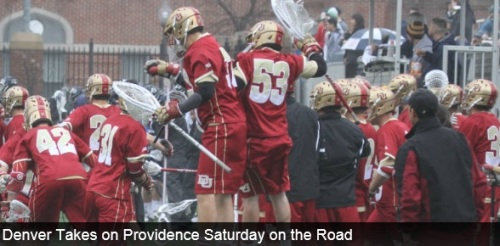 The No. 3/3 University of Denver men's lacrosse team hits the road to play BIG EAST opponent Providence College, on Saturday at 10 a.m. MT in Providence, R.I. Providence is 3-10 on the season, seeing its last win on March 4th. The Friar's are 0-4 in conference play. Denver has won seven straight games, sitting at 10-2 on the season. The Pioneers are coming off a 16-9 win over St. John's.  The win-streak is the Pioneers' longest since the 2011 season in which Denver won 12 straight games before losing to eventual NCAA Champion Virginia in the NCAA Tournament Semifinals (05/28/11). THE SERIES •The Pioneers lead Providence 3-0 in the overall series. •Denver also holds a 2-0 advantage when playing at Providence. SCOUTING PROVIDENCE •The Friars come into Saturday's match-up with a 3-10 record on the year, winning three of their first four games. •Providence sits at 0-4 in conference play and has yet to win a game on its home field. •Andrew Barton leads the Friars in points (41/3.80) and goals (27/2.08). Sean Wright leads Providence with 19 assists, ranking third in the BIG EAST with 1.46 assists per game. •Face-off specialist Ryan Shaw has won 91-of-212 face-offs, while also grabbing a team-high 52 ground balls. Shaw is ranked fifth in the conference with 5 ground balls per game. •The Friars are second in the league in man-up goals (1.46) and in save percentage (.509). •Providence is averaging 8.54 goals per game, 4.15 assists per game and 12.69 points per game. SCOUTING THE PIONEERS •Denver is coming off a 16-9 win over St. John's in its fourth BIG EAST victory of the conference season. •Senior Jeremy Noble provided the Pioneers with five points off of two goals and three assists to bring in the BIG EAST Offensive Player of the Week Award. The midfielder has eleven goals on the season to go along with 20 assists for 31 points. He also leads the team with 35 ground balls. •Sophomore transfer Jack Bobzien leads the Pioneers with 28 goals and 44 points. Bobzien ranks No. 24 in the nation in points per game (3.67), No. 34 in goals per game (2.33) and No. 6 in shot percentage (.519). •Freshman Zach Miller is ranked No. 2 in the country in shot percentage (.558), No. 46 in goals per game (2.18) and No. 49 in points per game (3.18). •Denver has seven student-athletes (Bobzien, Berg, Miller, Adamson, Noble, Pace, Cannizzaro) that have tallied 10-or-more points, five (Noble, Adamson, Bobzien, Berg, Miller) with 30-or-more points and two (Berg and Bobzein) with 40-or-more points. Four Pioneers (Bobzien, Berg, Miller, Adamson) have scored 20-or-more goals this season. •Denver is tied for the 6th-best scoring offense in the nation (13.00), the fifth-best scoring margin (4.14) and the second-best shot percentage (.385).