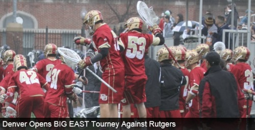 The No. 2/2/3 University of Denver men's lacrosse team opens the BIG EAST Tournament as the No. 1 overall seed this Thursday against No. 4 seed Rutgers at Villanova Stadium in Villanova, Pa. The Pioneers and Scarlet Knights will open the tournament with a 2:30 p.m. MT face-off. Rutgers is 8-7 on the season and 3-3 in BIG EAST Play. Denver has won nine straight games, sitting at 12-2 on the season. The Pioneers are coming off a 17-9 win over Marquette at Peter Barton Lacrosse Stadium to capture the BIG EAST Regular Season Title. The win-streak is the Pioneers' longest since the 2011 season in which Denver won 12 straight games before losing to eventual NCAA Champion Virginia in the NCAA Tournament Semifinals (05/28/11). THE SERIES •Denver and Rutgers are deadlocked at 1-1 in the all-time series that dates back to March of 1999. • Earlier this season, Denver defeated Rutgers 17-11 at home in front of a sold-out crowd of 2,232 fans. SCOUTING RUTGERS •The Scarlet Knights come into Thursday's contest with an 8-7 overall record. •Although Rutgers has lost three of its last five, the Scarlet Knights stole a 12-8 win over Georgetown over the weekend to seal its trip to the BIG EAST Tournament. •Scott Klimchak leads the Scarlet Knights with 42 points off 37 goals and five assists, while Christian Trasolini is close behind with 40 points off 27 goals and 13 assists. •Face-off specialist Joseph Nardella has won 199-of-306 face-offs for a 0.650 winning percentage, ranking him No. 4 in the nation. •Goalie Kris Alleyne leads the team with 116 saves, while also posting a .504 save percentage and an 11.03 goals-against average. •Rutgers averages 12.47 goals, 7.6 assists and 20.1 points per game off 38.8 shots per game. SCOUTING THE PIONEERS •Denver is coming off a 17-9 win over Marquette at home that improved the Pioneers to 12-2 overall, 6-0 in league play. •The Pioneers' 12-2 start matches the best start for the program since 2011 when it advanced to the Semifinals of the NCAA Tournament. •Sophomore Jack Bobzien leads the Pioneers with 51 points and 34 goals, while also dishing our 17 assists. The transfer ranks No. 25 in the nation in points per game (3.64) and No. 27 in points per game (2.43). •Bobzien and junior Carson Cannon picked up BIG EAST Honor Roll honors after their performances in the Pioneers 17-9 win over Marquette. Bobzien tallied five points off four goals and one assist, while Cannon caused three turnovers and picked up two ground balls. •Junior Wesley Berg is second on the team with 48 points off 33 goals and 15 assists. •Senior Jeremy Noble leads the Pioneers with 27 assists and has 38 ground balls on the year. •Face-off specialist Chris Hampton has a team-best 42 ground balls and has won 95-of-195 face-offs so far this year. •Goalie tandem of Ryan LaPlante and Jamie Faus have been splitting time in net. LaPlante has 82 saves on the season, a .577 save percentage and an 8.90 goals-against average. Faus has 68 saves, a .540 save percentage and an 8.20 goals-against average. •Denver has the second-best winning percentage in the nation (0.857), the fourth-best scoring offense (13.36), the second best shot percentage (0.384) and the fifth-best scoring margin (4.71).