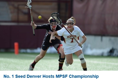 # 20 DENVER (16-1 Overall, 9-0 MPSF) won 11-5 at Oregon to finish the regular season undefeated in the MPSF. The Pioneers are this year's host of the conference championship tournament, seeded No.1, and advancing to Friday's semifinals at 4 pm against Thursday's Oregon-USC quarterfinal winner. Hannah Hook made 14 saves in Eugene, allowing just five goals, having been named to the Tewaaraton watch list earlier in the day. The outcome marked the second straight year Denver has run the regular season table in conference, and fifth time under Liza Kelly. Jill Remenapp is the national assist leader with 46 (2.71 A/G). Hook has the top goals-against average (7.39) and save percentage (.534) in the MPSF.  # 18 STANFORD (13-3 Overall, 7-2 MPSF) is seeded second, earning a quarterfinal bye, taking on the San Diego State-Colorado winner Friday evening at 7 pm. Mackenzie Tesei came off the bench to produce three goals, three caused turnovers, and five draw controls in the regular season finale 18-7 win over California. Hannah Farr also had a hat trick with five draws, while Kelsey Murray scored twice and dished two assists. Lucy Dikeou has scored 26 goals on the year. Lyndsey Munoz has an 8.77 goals-against average.  COLORADO (10-7 Overall, 6-3 MPSF) enters the MPSF Tournament in its inaugural season, seeded third and meeting No. 6 seed San Diego State to open the event at 4 pm (MT) Thursday. After a dramatic 10-9 sudden-victory OT win at Oregon to finish the regular season, the Buffs finished in a three-way tie for third in the standings, and received the top seed in that tied group by virtue of defeating both USC and Oregon during the season. Sarah Lautman delivered her third OT game-winner of the year. Goalkeeper Paige Soenksen averages an MPSF-High 10.35 saves, with a second-best .522 save percentage. Johnna Fusco, who recorded five goals (including an unassisted natural hat trick)) and five draws in the finale, has 54 points on the year.  OREGON (10-7 Overall, 6-3 MPSF) is the four seed in the MPSF Quarterfinals, facing No. 5 seed USC Thursday in the second game at 7 pm (MT). The winner will meet the host and top-seed Friday at 4 pm (MT). The Ducks ended the regular season tied for third, but received the four seed by virtue of a loss to Colorado and a win over USC during the season. Oregon is led by Shannon Propst with 41 assists and 68 points on the year. Caroline Federighi owns the second-best goals-against average in the MPSF at 8.00.  USC (9-8 Overall, 6-3 MPSF) Courtney Tarleton set a Trojan single-game record with eight ground balls against No. 5 Northwestern, the first-ever lacrosse game at Wrigley Field. USC ended the regular season with an 11-5 win at Marquette. Caroline de Lyra totaled nine points on the trip, including three goals and three assists at Marquette, while Alex Moore added seven points. The Trojans, seeded fifth this week, take on No. 4 seed Oregon in the MPSF Quarterfinals.  SAN DIEGO STATE (7-9 Overall, 4-5 MPSF) earned the sixth and final ticket to this year's MPSF Tournament with a 17-4 regular season finale home win over Fresno State. Grace Korandovich recorded a hat trick within the first 12 minutes of the game. Michaela Jarvis added a goal and dished three assists, while Felice Artuso collected five draw controls. The sixth-seeded Aztecs make their first-ever postseason appearance Thursday (May 1) at 4 pm, taking on No. 3 seed Colorado.