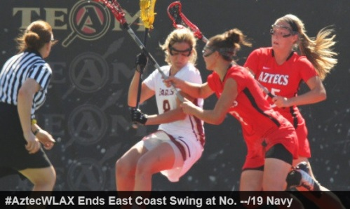 Game Week Reset  San Diego State (6-4, 3-1 MPSF) at No. --/19 Navy (10-1, 4-1 PL)  Wednesday, April 2 | 3 p.m. ET | Navy-Marine Corps Memorial Stadium | Annapolis, Md.  Aztec Story Lines  - The San Diego State women's lacrosse team concludes its two-game east coast road trip at Navy on Wednesday, April 2, beginning at 3 p.m. ET at Navy-Marine Corps Memorial Stadium in Annapolis, Md. Live stats will be available on GoAztecs.com.  - SDSU (6-4, 3-1 MPSF) is currently fifth in the Mountain Pacific Sports Federation standings, but is tied with a league-best three victories in conference play. Wednesday's game will be the Aztecs' final non-conference game of the season, as they conclude the 2014 campaign with five-consecutive MPSF contests.  - San Diego State is coming off a road loss at James Madison, 20-7, in a game delayed twice due to weather on Saturday. The Aztecs took an early lead, but an 8-0 run to close the first half put the Dukes ahead for good. Junior attack Michaela Jarvis (Annapolis, Md.) recorded a goal and an assist in the loss, while sophomore Alexa Comfort (Manahawkin, N.J.) scored a team-high two goals for her first scores of the season.  - Senior Meris Walsh (Easton, Md.) scored another goal in Saturday's game, and has scored at least once in every game this season. The senior attack leads the Aztecs with 25 goals, and is tied with Jarvis (14 goals, 12 assists) for a team-best 26 points. Junior Christina Ricciardulli (Poway, Calif.) is second on the team with 16 goals and junior Bailey Ewing (Reisterstown, Md.) is third with 15, while Jarvis and junior Lauren Maack (Coronado, Calif.) are tied for fourth with 14 scores apiece.  - Defensively, junior Lauren Paul (Grasonville, Md.) is tops on the squad with 20 groundballs and 11 caused turnovers, while Ricciardulli is 50th in the nation with a team-high 34 draw controls, ranks second in caused turnovers (10) and fourth in groundballs (14). In addition, freshman goalkeeper Katrina Reeves (Granite Bay, Calif.) is 41st in the country with 67 saves and 49th with 6.7 saves per game.  - San Diego State is 18th in the nation in scoring offense, averaging 13.5 goals per contest, and is 29th in points with 170. The Aztecs have an MPSF-best 135 goals this season, and trail only Oregon and Stanford for the conference lead in goals per game. SDSU also leads the MPSF in shot percentage, scoring 135 goals on 271 shots (.498), while it ranks third in the conference in shots per game (27.1) and second in shots on goal per game (21.9).  - SDSU also ranks highly in several defensive categories, as they're first in the conference and 21st in the nation in draw controls per game (13.4), 36th in caused turnovers per game (8.8) and 36th in scoring margin, outscoring opponents by 1.3 goals per game.  - San Diego State is 5-0 this season and winners of six-straight games overall when leading at halftime, while its 6-3 when having the lead at any point in the game. Furthermore, the Aztecs are 5-0 this season when outshooting its opponent, 3-0 when scoring the final goal of the game, and 3-0 when they have the edge in draw controls.  - The Aztecs are 4-2 this season in road games, with its only two losses coming in their previous two contests away from home. SDSU has won six of its last seven games when scoring at least 10 goals, and have won four straight when tallying at least 15 goals.