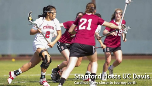 Stanford would draw closer to clinching a Mountain Pacific Sports Federation tournament spot with a victory over UC Davis on Tuesday at Laird Q. Cagan Stadium in a 7 p.m. contest. The No. 13 Cardinal (10-2 overall, 4-1 MPSF) is coming off an impressive 15-7 victory over Oregon and has four games remaining in the regular season. Six of the MPSF's teams qualify for the conference tournament and the Cardinal is on the verge of clinching a spot, but first must get past the Aggies (6-7, 1-5), a team that earned a stunning 15-14 overtime victory over the Cardinal last year in Davis. Week in Review: Lucy Dikeou scored four goals to lead Stanford to a 15-7 road victory over Oregon, which came into the game without a loss in MPSF play. Adrienne Anderson did a superb job of marking Oregon's Shannon Propst, who came into the game as one of the nation's leading scorers. Propst was limited to two goals, and one was on a free position after being fouled by a different player. Hannah Farr had six draw controls for Stanford, which improved to 6-0 on the road. Scoring Streak: Lucy Dikeou has scored 10 goals in her past three games. She has 11 in her previous eight games and she has scored at least a point in all 11 games that she has played. Dikeou's streak:  four against Notre Dame, three against Denver, and four against Oregon. She did not play against Colorado. The MPSF Race: At 4-1, Stanford is tied with Oregon for second place behind Denver (7-0). To earn the No. 1 seed in the six-team MPSF tournament, Stanford would need to win its final four regular-season games and require Denver to lose its last two – against visiting Cal on Friday and at Oregon on April 25. While one more victory may earn Stanford a spot in the MPSF tournament, two would clinch it.  Tuesday's Opponent, UC Davis: The Aggies (6-7, 1-5) are coming off an 8-4 loss at Oregon on Sunday. The loss was the fourth consecutive for UC Davis, which takes on Stanford in the middle of a three-game-in-six-day stretch. Junior midfielder Elizabeth Landry is the team scoring leader with 34 goals, 12 assists, and 51 draw controls.  The Stanford-UC Davis Series: UC Davis broke a 19-game losing streak in the series when  the Aggies stunned Stanford last year, 15-14. Elizabeth Datino scored with 2.5 seconds left in overtime for the winner. It also was the first time UCD had ever beaten a team ranked in the IWLCA Top 20. Stanford has not lost at home to the Aggies since 1997 and holds a 23-4 overall series lead.