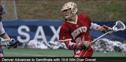 Powered by a seven-point performance from junior Erik Adamson (Anaheim Hills, Calif.), the No. 5 seeded University of Denver Pioneers men's lacrosse team defeated the Drexel University Dragons 15-6 on Sunday afternoon from Delaware Stadium in Newark, Del. In front of 7,222 fans. Adamson finished with six goals and an assist for a career-high seven points, netting his third career sock trick in the process. Senior Jeremy Noble (Orangeville, Ontario) tied his season-high in points (5) and season-high in assists (4), while also picking up four ground balls.