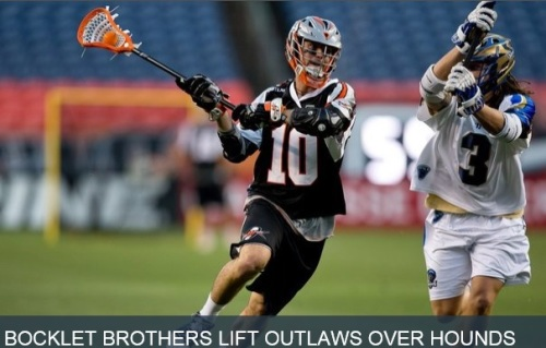 The Charlotte Hounds came into Denver looking to hand the Outlaws their first loss of the season—the Bocklet brothers had different plans. Down 12-11 in the fourth quarter, Matt Bocklet wound up, shot and scored to tie the game. Just 50 seconds later, his younger brother Chris found twine to give the Outlaws the lead, as they went on to win, 13-11, Friday night at Sports Authority Field. Charlotte got on the board first with a goal from John Haus, but Denver scored the next five goals en route to a six-point first quarter. With just more than two minutes left in the first, John Grant Jr. cradled the ball by Charlotte's net, hesitated, then fired—behind his back without looking—to give him his second goal of the night and the Outlaws a 5-1 lead. Eric Law also scored a pair of goals in the first quarter to give Denver a 6-2 advantage heading into the second quarter. The Hounds found the net four times in the second frame, but late goals from Grant and Law gave each player a hat trick before half time, and sent Charlotte to the locker room trailing, 9-6. Cameron Flint was ready to get back on the field after the break. He netted a goal less than a minute into the second half, but then the Outlaws went dry for the rest of the quarter. The Hounds went on a 5-0 run, capped by a pair of two-point goals to give them an 11-10 lead with less than 10 minutes to play in the game. Then, the Bocklet brothers stepped in to tie the game, and eventually take the lead. Grant scored again late in the quarter for good measure—his fourth goal of the game. Aside from marking the Outlaw's 25th straight regular-season victory, some individual players marked special occasions, too. Matt Bocklet picked up his 300th groundball in an Outlaws jersey and Anthony Kelly won his 1300th career faceoff. Fresh out of college, Colin Dunster and Jeremy Noble made their MLL debuts. Dunster took his first career shot on goal, and Noble picked up his first two MLL points on a pair of assists, the first of which came on a first-quarter dish to his former University of Denver teammate, Eric Law. The Outlaws return to action on the road against the Charlotte Hounds on Saturday, June 7, 5:30 p.m. MDT.