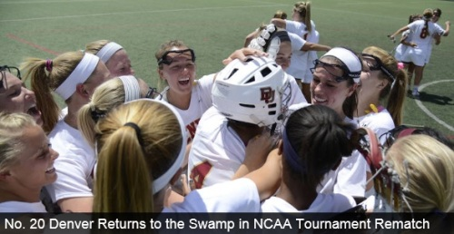 """The University of Denver women's lacrosse team will take on the Jacksonville Dolphins in the first round of the NCAA Tournament on Friday, May 9 in Gainesville, Fla. The game is set to be played at Donald R. Dizney Stadium at a time still to be determined. The winner of the first round game will face the fourth seeded Florida Gators. """"Familiar foes help us prepare for what's to come,"""" said head coach Liza Kelly. """"There should not be any surprises in our travel schedule or what we plan to do moving forward. Hopefully we get the chance to face both of the teams in our region."""" The Pioneers opened the NCAA Tournament last year against Jacksonville, winning 14-7 on May 10, 2013. Denver fell to Florida 16-5 in the second round of the NCAA Tournament last season. It was the only time the Pioneers have faced either school in program history. """"Jacksonville is a good opponent,"""" said senior Meredith Harris. """"I'm looking forward to facing them. It's going to be another battle next weekend. We've talked a lot as a squad about playing our best lacrosse in May and it looks like that is happening for us. We're looking forward to playing another week."""" Denver is currently on a school best 16 game winning streak. The Pioneers claimed the MPSF Tournament Championship for the first time in school history following a 14-11 win over No. 18 Stanford on Sunday morning."""