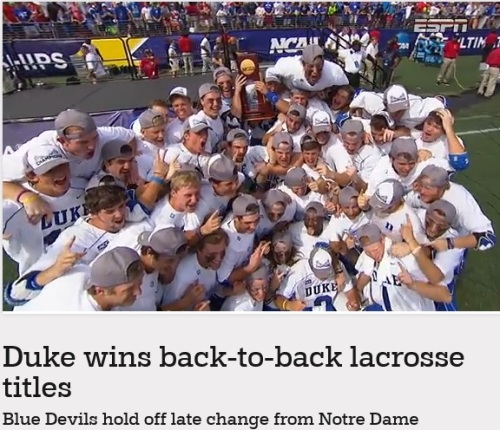 Duke won its second consecutive NCAA men's lacrosse championship, holding off Notre Dame's comeback with a goal by Kyle Keenan with 2:39 left to clinch an 11-9 victory Monday. The top-seeded Blue Devils (17-3) limited the Irish to one goal over the first 35 minutes, built a six-goal lead in the third quarter and held on to capture their third national championship in the last five years. It sure wasn't easy. The sixth-seeded Irish (12-6) closed to 9-8 with 5 minutes left and had the ball with a chance to tie. But after Duke goalie Luke Aaron stopped a shot by Jim Marlatt, Keenan scored on the other end for a two-goal cushion.