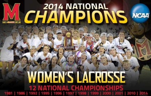 Top-seeded Maryland captured its 12th national title Sunday with a 15-12 victory against No. 2 seed Syracuse in front of a record crowd of 10,311 at the 2014 NCAA Women's Lacrosse Championship at Johnny Unitas Stadium. Maryland (23-1) was led in scoring by lone senior starter Beth Glaros, who notched five goals. Taylor Cummings, Brooke Griffin and Kristen Lamon added hat tricks. The Terrapins boasted a 16-13 advantage in the draw circle, including eight from Cummings, en route to their first national championship since 2010. Maryland's offense erupted from the onset, posting a commanding 5-0 run in the first 4:20 of the game. After Lamon began the drive with a score 43 seconds in the contest, Glaros and Cummings each found the back of the net for a 3-0 Terrapin lead. Lamon extended the cushion to four after an incredible feed from Kelly McPartland before the All-American midfielder gave Maryland its fifth consecutive goal at 25:40. After Maryland was able to snag the first six draw controls of the game, Syracuse was finally able to gain its first possession and Kayla Treanor provided the Orange with a goal at 24:20. Amy Cross made it two-straight for Syracuse with a tally 1:20 later. Treanor shrunk Maryland's lead to two with a top-shelf score at 12:06 and Alyssa Murray made it four-in-a-row for the Orange with a goal at 9:42 for a 5-4 match. Cummings snapped a 16-minute scoring drought with an absolute rocket at 9:34 to push Maryland's lead back to two and Glaros extended it to three with a free position goal following a Syracuse yellow card, one of six issued to the Orange Sunday. Cummings – a Tewaaraton finalist – made it a hat trick with a tally through traffic with about five minutes remaining in the first half and gave Maryland a 9-6 lead at the break. Syracuse struck first in the second stanza but the Terrapins quickly countered after an unselfish look from Cummings to Griffin for a 10-7 score with 27 minutes remaining before a second consecutive tally by Griffin extended the Maryland advantage to four. Griffin continued to make her presence known in the final period, completing a second-half hat trick with a spectacular move around the crease for a five-goal Terrapin lead at 21:26. Lamon became the fourth Terrapin to record a hat trick with a free position goal for a 13-7 game with 19:38 remaining. Syracuse halted the 4-0 run with a Kailah Kempney effort at 17:53 to end a nine-minute scoring lull before Glaros picked up two straight goals to push Maryland's lead to seven. The Orange mustered one final run with four consecutive goals for a 15-12 score but the Terps' defense buckled down in the final four minutes of play to take home the title.