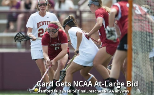 The Stanford women's lacrosse team received an at-large bid to the NCAA tournament Sunday night. It was welcome news after losing the chance at automatic berth earlier in the day. Stanford fell into hole early and could not recover in a 14-11 loss to Denver in the Mountain Pacific Sports Federation tournament championship game Sunday. However, Stanford (14-4) secured an NCAA spot for the second consecutive year. Stanford plays Duke (9-7) in the first round on Friday at Notre Dame. Stanford would play the winner of High Point (14-5) and Notre Dame (9-8), the No. 8 seed, in the second round of the 26-team tournament. Last year, Stanford beat Notre Dame in the first round for the first NCAA victory in school history. In the MPSF final, No. 20 Stanford (14-4) fell behind by deficits of 5-0 and 9-2 and never was able to draw closer than the final margin. Hannah Farr and Rachel Ozer scored three goals apiece to lead the Cardinal. Denver (18-1) plays Jacksonville (14-5) in Gainesville, Fla. Stanford had played Denver six times in the MPSF tournament, including five times in MPSF tournament, and won every one. But Denver (18-1) ended that streak thanks largely to its fine start. This was in contrast to their previous meeting, on April 4 at Stanford, when Stanford bolted a 6-0 lead in what would be a 13-12 Denver victory. Ozer broke through for Stanford in the ninth minute. From that point on, Stanford outscored Denver, 11-9. Alexandra Crerend helped give the Cardinal a boost on faceoffs, which helped fuel a 3-0 run that brought Stanford within 9-5, on a goal by Lucy Dikeou with 1:21 left in the first half. Denver, however, responded with a 3-0 run of its own bridging halftime to retake control of the game.