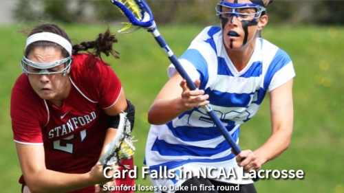 """Stanford fell into a hole early and never fully recovered during a 13-8 loss to Duke in the first round of the NCAA women's lacrosse tournament on Friday at Notre Dame. No. 19-ranked Stanford (14-5) allowed three goals in the first 59 seconds and didn't earn its first possession until the Cardinal trailed 3-0. However, Stanford rallied to within a goal and was within two in the final minutes before No. 9 Duke (10-7) essentially scored three empty-net goals in the final two minutes for the closer-than-the-score-indicates final margin. """"You've got to be ready from the first draw and that happened to us in the past two games,"""" said Stanford coach Amy Bokker, whose team fell behind Denver 6-0 in a 14-11 loss in the Mountain Pacific Sports Federation tournament final last week.  """"I did think we could recover,"""" Bokker said. """"We've had deficits early in games before. But a lot of credit to Duke, they did a good job of going hard to the net and taking advantage of what we gave them. We dug ourselves a hole and it was really hard to recover."""" Alexandra Crerend led Stanford with three goals and five draw controls – both season-highs for the sophomore transfer from Brown. It was her first multi-goal game for Stanford. Stanford closed to within 4-3 after consecutive goals by Crerend and Meg Lentz, the latter after a quick pass into the middle from Hannah Farr on a free position, with 6:14 left in the first half.  With Stanford a player up because of a Duke yellow card, the opportunity seemed there to tie the game. Farr did get a shot off during the penalty, but the Blue Devils countered with two shorthanded goals to bolt to a 6-3 lead.  Stanford was forced to chase thereafter. Needing to put consecutive goals together to truly rally, Stanford was unable to do so, though the Cardinal continued to apply the pressure. However, they continued to have trouble cracking the interior of the Duke defense. """"Their defense played really well, but I thought we needed to do a better job of d"""
