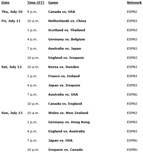 2014 FIL World Lacrosse Broadcast Schedule on ESPN Pg 1