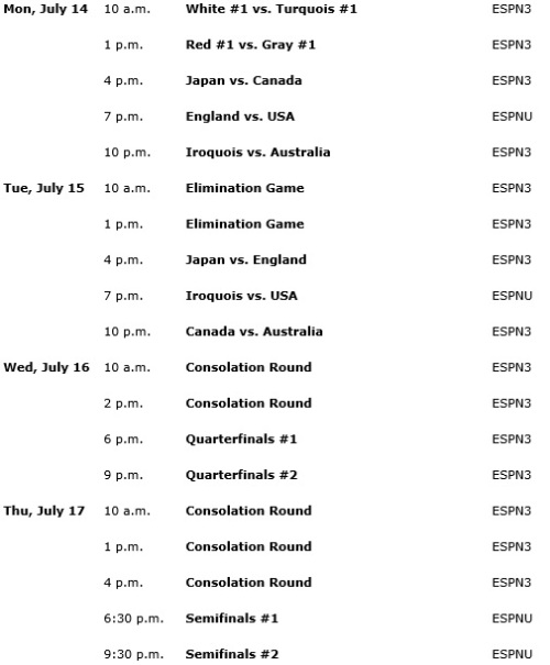 2014 FIL World Lacrosse Broadcast Schedule on ESPN Pg 2