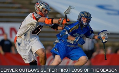 The Denver Outlaws (5-1) dropped an 18-15 decision to the Charlotte Hounds (2-4) Saturday night on the road. Charlotte snapped Denver's 25-game regular-season win streak, which dated back to June 23, 2012 and spanned 714 days. The game was a back-and-forth thriller and the two teams were tied a total of six times the entire night. The Hounds scored first and took a 3-1 lead into the second quarter, but Denver answered with a seven-goal second quarter, including a two-pointer on a power play by Jeremy Sieverts. Sieverts leads the MLL in two-point goals this season with four, and ranks first in Outlaws history with 17 career two-pointers. Charlotte took a 9-8 lead into halftime, but the teams traded leads and were tied three times in the third quarter, and headed into the fourth quarter all tied up at 12-12. Three different Denver players—Curtis Dickson, Jeremy Sieverts, and Drew Snider—recorded hat tricks, but Charlotte's six-goal fourth quarter would prove to be too much for the Outlaws. Dickson scored his fourth goal of the night in his first game with the Outlaws to give Denver a 13-12 lead 27 seconds into the fourth quarter before Charlotte responded by scoring two goals in less than a minute. Domenic Sebastiani scored his second goal of the season to cut the Charlotte lead to 17-15 with two minutes left in the game, but John Haus secured the victory for the Hounds with his third goal of the night, giving the Hounds an 18-15 lead with just 17 seconds left in the game. Backup goalie Charlie Cipriano got the start for the Outlaws, the first of his three-year MLL career. Cipriano had 13 saves on 30 shots (.433) in the loss. His 13 saves and 60 minutes in goal were career-highs for the goalie. The Outlaws return to action at home Saturday, June 14 at 7 p.m. MDT when they host the New York Lizards for Film on the Field featuring The Amazing Spiderman.