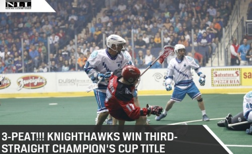 With one last Matt Vinc save at the buzzer, the Rochester Knighthawks made National Lacrosse League history by winning their third-straight Champion's Cup title. The Knighthawks defeated the Calgary Roughnecks 16-10 in Game Two and came back for a 3-2 win in the subsequent tiebreaker mini-game in front of 9,188 fans at Blue Cross Arena on Saturday night. The first quarter of Game Two was a fast-paced physical affair. The Roughnecks jumped out to a 2-0 lead on goals from Shawn Evans and Curtis Dickson. Cody Jamieson cut the lead in half for the Knighthawks, but Daryl Veltman extended the Roughnecks' lead to 3-1. Stephen Keogh brought the Knighthawks back within one, 3-2. Then Dan Dawson, who missed Game One of the Champion's Cup Finals in Calgary, tied the game with a power play goal. The first quarter ended with the teams deadlocked at 3. Joe Walters gave the Knighthawks their first lead of the game early in the second quarter. However, the Roughnecks went on a three goal run, including two goals by Dickson to complete his hat trick and one by Jeff Shattler, to take a 6-4 lead. The Knighthawks responded with their own three goal run on goals by Keogh, Cory Vitarelli, and Jamieson to retake the lead, 7-6. A flurry of chances by both sides at the end of the first half went to the wayside, leaving the Knighthawks with a 7-6 lead over the Roughnecks at the half. Vitarelli opened the scoring in the third quarter with a Sportscenter Top 10 worthy behind-the-back goal. That goal was the first in a three-goal run for the Knighthawks finished by goals from defensemen Paul Dawson and Scott Self, giving Rochester a 10-6 lead. The Roughnecks came back with a three goal run of their own with Shattler scoring twice to complete his hat trick and Dane Dobbie adding one. The Knighthawks limped into the intermission between the third and fourth quarters with a 10-9 lead. Dan Dawson oened the scoring in the fourth quarter after snagging a rebound and diving across the crease, keying a four-goal run for the Knighthawks. Jamieson scored his third goal of the night, followed by Dan Dawson scoring his third, and Craig Point caped the run to give Rochester a 14-9 lead.
