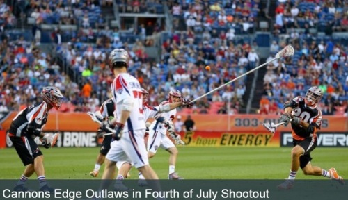 The fireworks started long before the final whistle at Sports Authority Field as the Boston Cannons (5-5) edged out the Denver Outlaws (7-3), 17-13, in an offensive explosion. Denver cut Boston's lead to one late in the third quarter, but five fourth-quarter goals by the Cannons help them escape with the win. The two teams traded off goals for the majority of the game. Zack Greer got the Outlaws on the board first with the first goal of his season less than a minute into the contest, and just minutes later Boston's Rob Emery evened the score. Emery finished with four goals on the night. Denver scored the next goal when Eric Law found twine for the 50th goal of his career. Then the Cannons scored twice, and the Outlaws followed suite, responding with back-to-back goals of their own. Law scored on an acrobatic put in that was originally ruled no goal before being overturned following a challenge, and John Grant Jr. sniped in a behind-the-back goal. Boston took their turn next, as Will Manny scored two goals to close the quarter with the Cannons up, 5-4. Jeremy Sieverts got into the action in the second frame, scoring two quick goals to put Denver up, 6-5. His first goal moved him into fifth place in Outlaws' history for all-time points with 112. The Cannons didn't let up though and finished the quarter on a 3-0 run, sending them to the locker room with an 8-6 advantage.   Sieverts started the third quarter like he did the second, finding twine early to get a hat trick. The two teams then traded off goals for the remainder of the quarter. Greer and Law scored just two minutes apart at the end of the frame to give them both a hat trick on the night, and tie the game at 11-11. For Law, it's his eighth hat trick of the season. But after a late Boston goal, the teams headed to the final quarter with the Cannons up, 12-11. Law scored his fourth goal of the game in the fourth quarter and Terry Kimener put one in late, but five goals from Boston in the final frame helped them