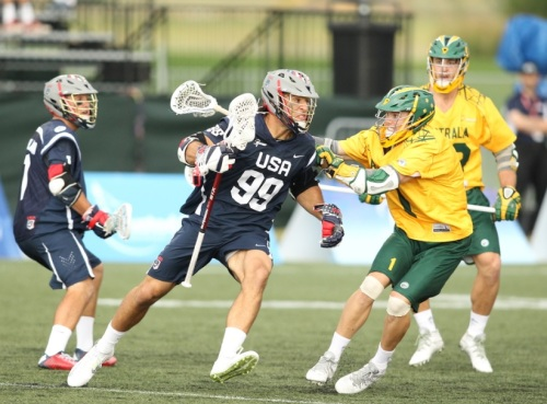 For Australia, the sight of yellow flags flying into the twilight sky was exactly what they wanted to see Saturday. It started almost immediately, when goony-looking Callum Robinson nailed Team USA's Max Seibald with a late hit after Seibald scored and then baited Team USA's Brendan Mundorf into a shoving match less than two minutes into the game.