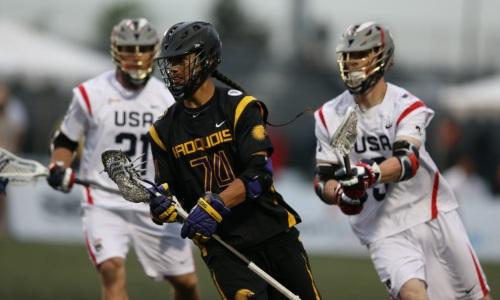 """Team USA head coach Richie Meade gathered his group after its 18-5 dismantling of the Iroquois Nationals and said, """"That's the way we want to play."""" Start with the faceoffs, and work your way around the field: the U.S. defense squashed the Thompson-led offense, goalie Jesse Schwartzman made timely stops, two-way midfielders controlled possession and the offense lit it up, with Rob Pannell and Paul Rabil combining for 10 goals and four assists."""